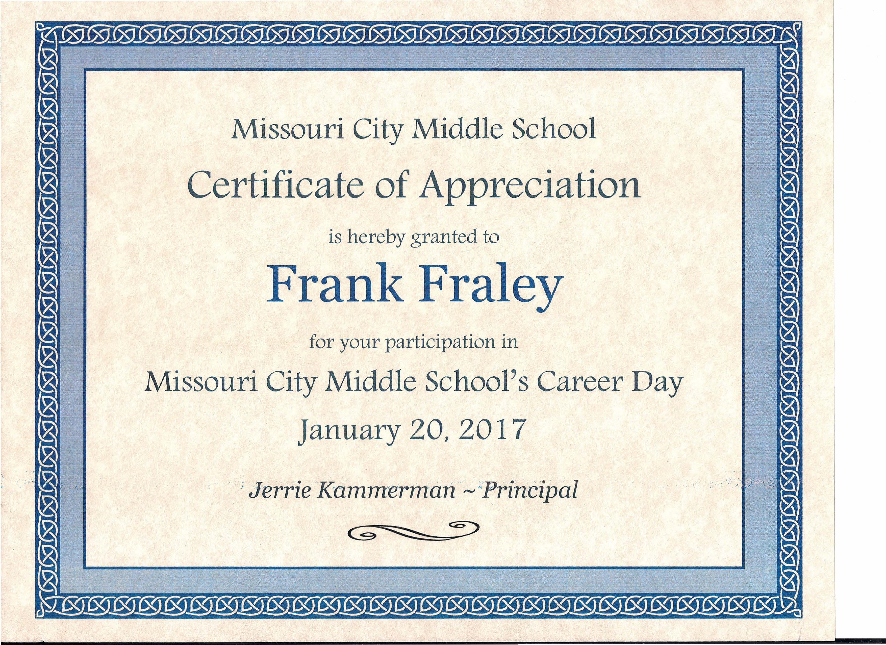 Gallery elect frank fraley for judge of the 240th district court missouri city middle school certificate of appreciation yadclub Image collections